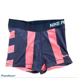 "Nike Pro Women's 3"" Shorts Pink and Black Stripes"